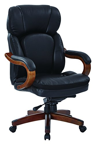 INSPIRED by Bassett Van Buren Contour Bonded Leather Seat and Back, Padded Arms, Wood Accents Executive Chair, Black (Accent Chair By Bassett Inspired)