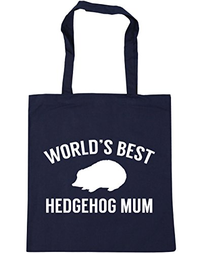 HippoWarehouse World's best hedgehog mum Tote Shopping Gym Beach Bag 42cm x38cm, 10 litres French Navy