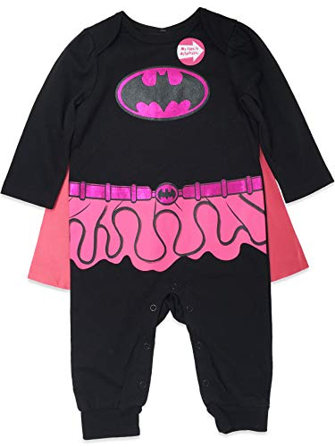 Warner Bros. Batgirl Baby Girls' Costume Coverall with Cape, Black/Pink (6-9M) ()