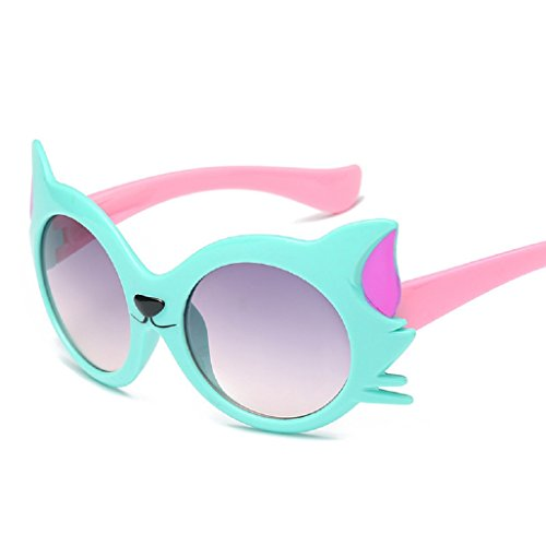 Top Cheer Cool Kids Style Round Shape Cute Cat Eye Decorated UV 400 Protection Sunglasses Frame Eyewear - Sunglasses Best For Eyes Shape