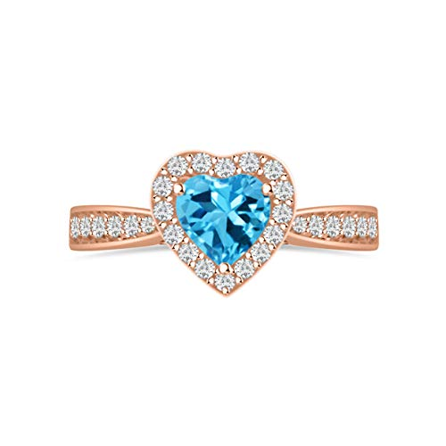 Diamond Scotch 14k Rose Gold Plated 5mm Heart Cut Simulated Ruby Gemstone Birthstone Halo Heart Engagement Wedding Promise Ring for Her Love Gift ()