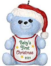 Hallmark Keepsake Christmas Ornament, Year Dated 2021, Baby Boy's First Christmas Blue Bear