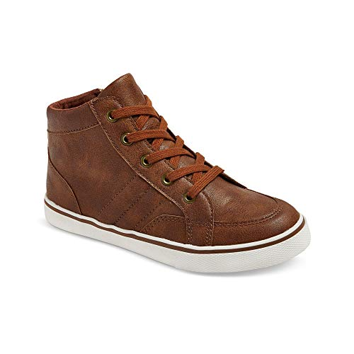 Cat & Jack Boys Florian Mid Top Leather Sneaker Shoes Tan Brown 2 from Cat & Jack