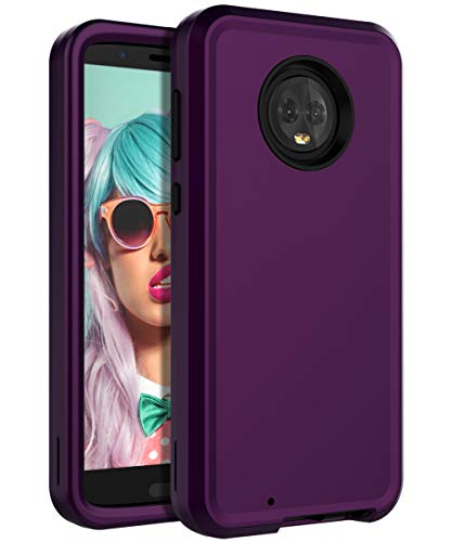 Miubox Case for Motorola Moto G6,Heavy Duty Shockproof Hard Plastic and TPU Bumper Protection Cover Case for Women Girls Men for Motorola Moto G6,Purple Black