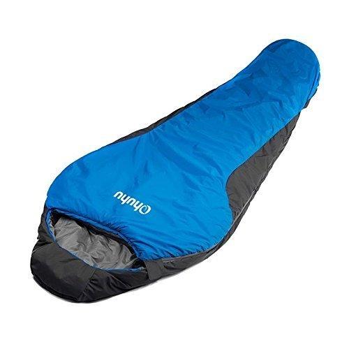 Ohuhu® 84 x 221 cm Schlafsack Mumienschlafsäcke 0 Grad mit einem Tragbare-Tasche für Camping, Reise, Winter