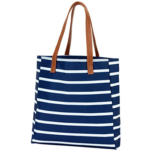 [High Fashion Tote Bag that can be Personalized or Monogrammed Perfect for Bridal Party Shower Gifts and More (Monogrammed Navy Stripe)] (Bridal Embroidered Tote)