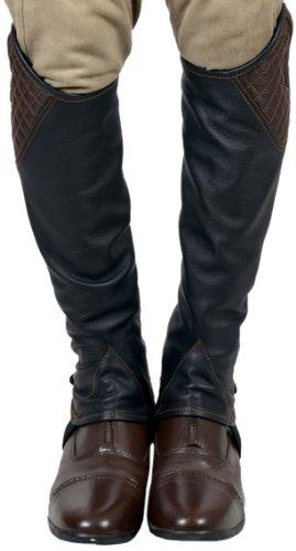 Riders Trend Erwachsene Reiterchaps Mini Chaps - Gaiter Genarbtem Leder mit Abgesteppten Leder, S, 10025414-BLKBRN-S