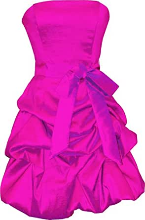 Strapless Taffeta Bubble Dress with Pick-Ups Formal Gown Prom Dress, XL, Fuchsia