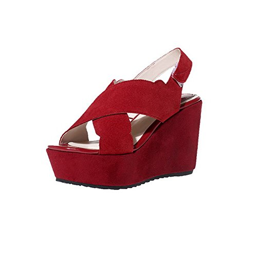 AgooLar Mujeres Gamuza Sólido Velcro Puntera Abierta Plataforma Sandalia Rojo