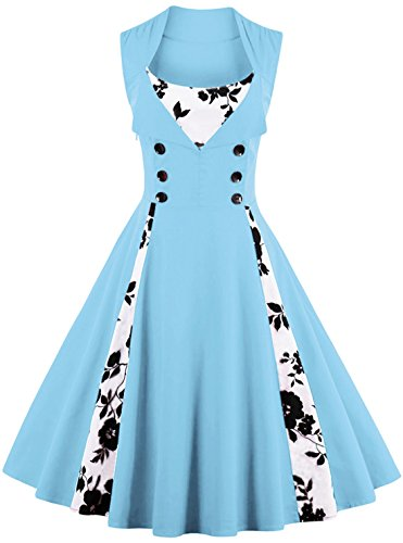 Jiuzhoudeal Women's 1950s Vintage Sleeveless Retro Swing Party Classy Dress (XX-Large, Light Blue- Floral) ()