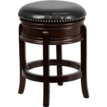 Flash Furniture 24u0027u0027 High Backless Cappuccino Wood Counter Height Stool with Black Leather Swivel  sc 1 st  Amazon.com : high wooden stools - islam-shia.org