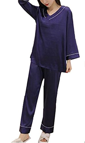 Pantaloni Sleep e Sleepwear Set Set Tops Pigiama da Kerlana Blue Pigiama Donna Comoda Manica Elegante lunga Donna wp7Tqz
