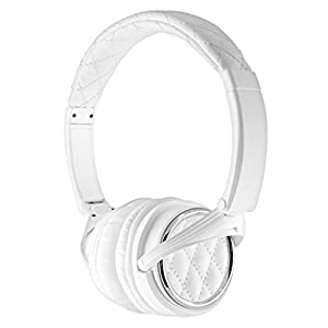Madison Avenue (white)Designer Headphones w/High-Fidelity Drivers, In-Line Microphone, Detachable Cable, Compact Folding Design & Bamboo Box by BiGR Audio