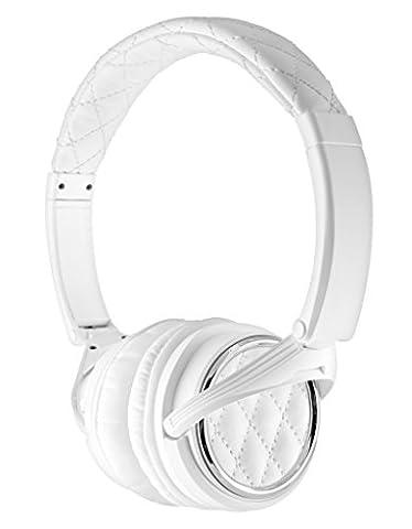 BiGR Audio Madison Avenue Leather Over-ear Headphones with Mic, White (Bigr Audio Cable)