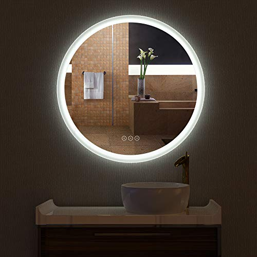 HAUSCHEN R30inch LED Lighted Bathroom Wall Mounted Fogless Mirror with Adjustable 3000K (Warm White) / 5500K (Daylight) Color Temperature Changing Lights and Dimmable Memory Touch Button ()