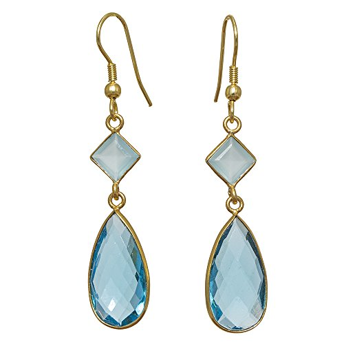 Sitara Collections SC10321 Gold-Plated Hydro Glass Earrings, Blue Topaz