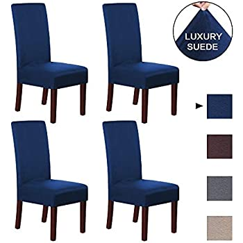blue dining room chair covers | Amazon.com: smiry Velvet Stretch Dining Room Chair Covers ...