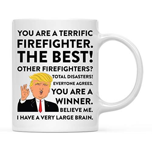 Andaz Press Funny President Donald Trump 11oz. Coffee Mug Gag Gift, Terrific Firefighter, 1-Pack, Ceramic Christmas Birthday Drinking Cup Republican Democrat Political Satire