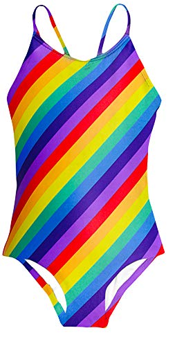 Rainbow Girls Swimsuit - Idgreatim Toddler Girls Rainbow One-Piece Swimsuit 3D Printed Stripe Bathingsuits Quick Dry Hawaiian Beach Swimwear Bikini 3-4 Years