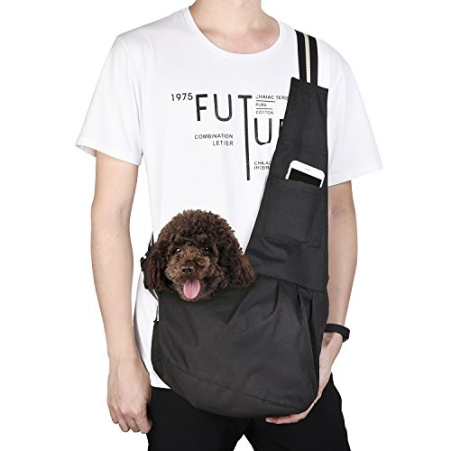 kiwitatá Adjustable Small Dog Cat Sling Carrier Bag Pet Single Shoulder Bag Waterproof Oxford Cloth Outdoor Pet Carriers Tote Puppy Carrier Travel Bag (M, Black)