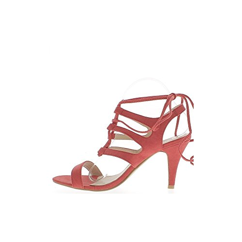 Sandalias de gran tamaño rojo con cordones de tacón de 10cm aspecto ante