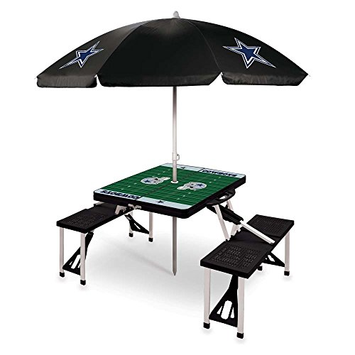NFL Dallas Cowboys Picnic Table Sport with Umbrella Digital Print, One Size, Black by PICNIC TIME