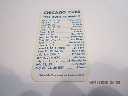 1970 Chicago Cubs Pocket Schedule