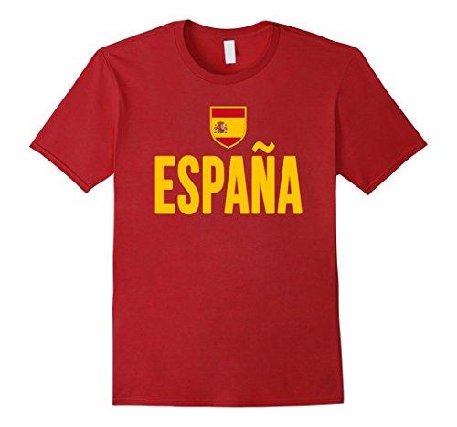 Men's SPAIN T-shirt Spanish Flag Espana Emblem-a Soccer Spaniard Small Cranberry