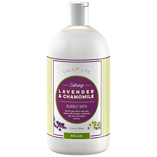 Calily Life Aromatherapy Lavender and Chamomile Bubble Bath Soak & Wash, 33.8 Oz.– Infused with Pure Essential Oils; Lavender, Chamomile, Aloe Vera & Organic Extracts –Relaxes, Soothes & Nourishes - Kid Chamomile Extract Liquid