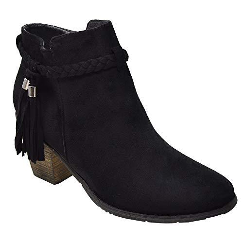 UK Black nieten besetzt Suede Chelsea Tassel Blockabsatz Knöchel Größe Stiefel 8 Xelay 3 Reißverschluss Mit Damen xqOn0vgYB