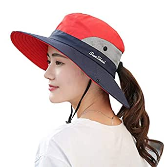 KPWIN Sun Hats for Women, Women's Ponytail Bucket Hat Outdoor UV Protection Foldable Mesh Wide Brim Beach Fishing Hat - Navy - Large