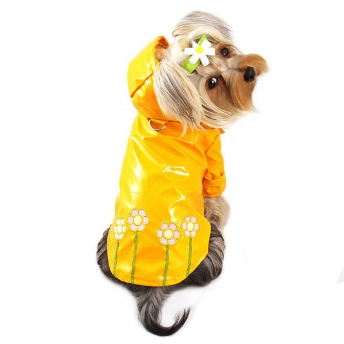 Polka Dots and Daisy Dog Raincoat Size: Small (8