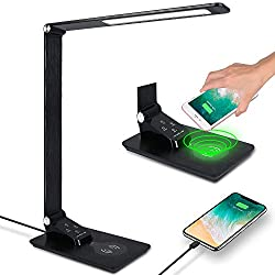 Donewin LED Desk Lamp with USB Port,Premium Metal Office Lamp with Wireless Charger,Study Lamp for Student,Desk Light for Office,Touch Control,Memory Function,3 Lighting Mode&5 Brightness Levels,Black