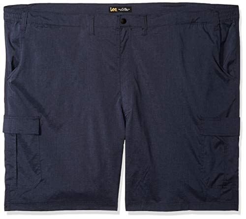 LEE Men's Big and Tall Big & Tall Dungarees Performance Cargo Short, Navy Heather, 52