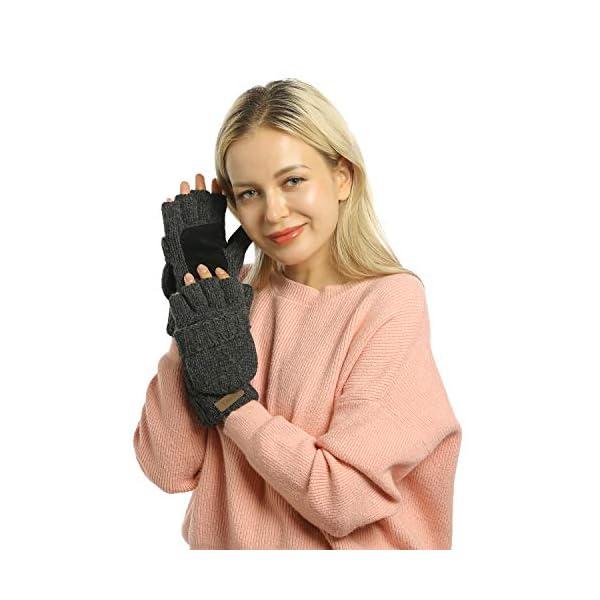 Winter Knitted Fingerless Gloves Convertible Wool Mittens Warm Glove Women & Men