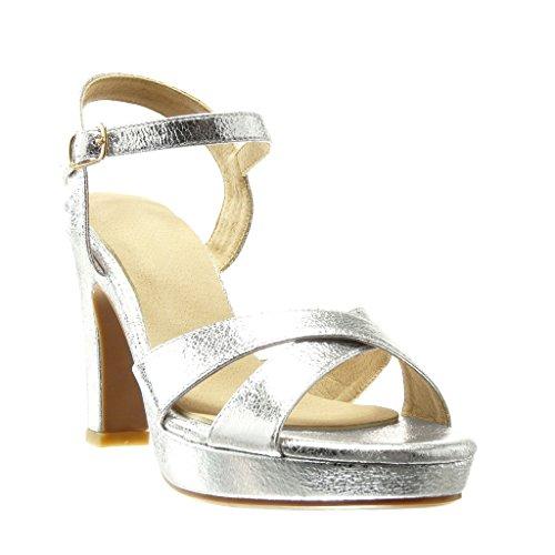 Angkorly - Zapatillas de Moda Sandalias Tacón escarpín zapatillas de plataforma sexy mujer tanga Hebilla Talón Tacón ancho alto 10.5 CM - Plata