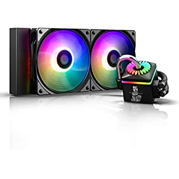 DEEPCOOL Captain 240PRO V2, ADD-RGB AIO CPU Liquid Cooler, Anti-Leak Tech Inside, Stainless Steel U-Shape Pipe, Cable Controller and Motherboard with 5V 3-pin A-RGB Header Control, 3-Year Warranty