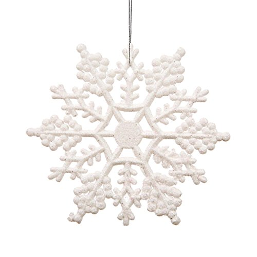 Snowflakes Pack (Club Pack of 24 White Glitter Snowflake Christmas Ornaments 4