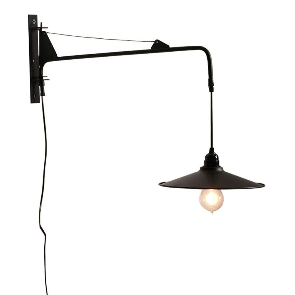 pretty nice 67d44 5b566 NIUYAO Vintage Industrial Wall Sconces Fixture with 23.6 inch Adjustable  Swing Arm Unique Plug-in Wall Lighting with on off Switch
