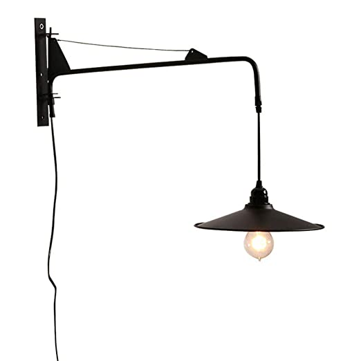 pretty nice c7365 dc9cd NIUYAO Vintage Industrial Wall Sconces Fixture with 23.6 inch Adjustable  Swing Arm Unique Plug-in Wall Lighting with on off Switch