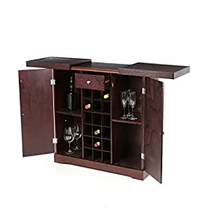 Home bar cabinet 18 bottle holder wine rack wood expandable storage pub furniture Home bar furniture amazon