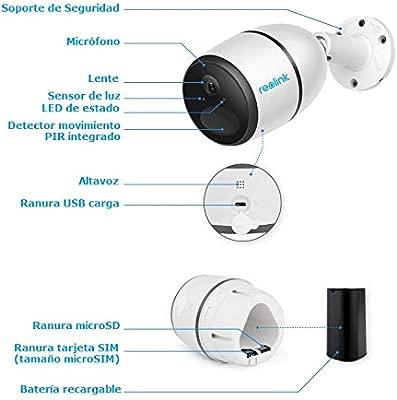 Camara IP 3G/4G -con tarjeta SIM de móvil YA incluida- de videovigilancia 100% inalámbrica (con batería recargable) FullHD 1080p, visión nocturna y ...