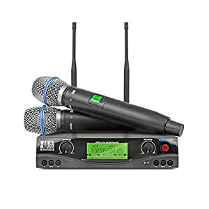 xtuga skm2000 dual channel uhf wireless microphone system with selectable. Black Bedroom Furniture Sets. Home Design Ideas