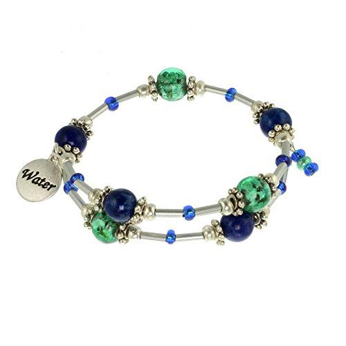 Water Element Silver Tone Beaded Gemstone Bracelet (Beaded Gem)