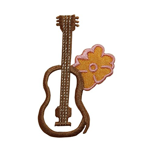 (ID 7313 Ukulele With Hibiscus Patch Tropical Flower Embroidered Iron On Applique)
