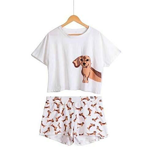 (Cute Women Pajamas Nightwear Dachshund Print Dog 2 Pieces Set Short Sleeve Top E White Dachshund Set)