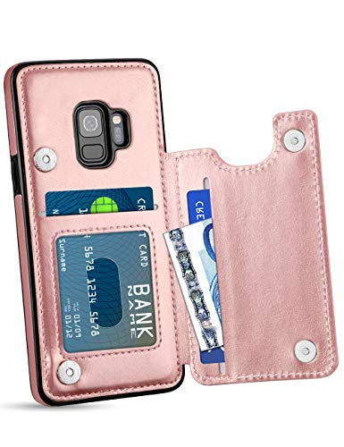 HianDier Wallet Case for Galaxy S9, Slim Protective Case with Credit Card Slot Holder Flip Folio Soft PU Leather Magnetic Closure Cover Case Compatible with Samsung Galaxy S9, Rose Gold