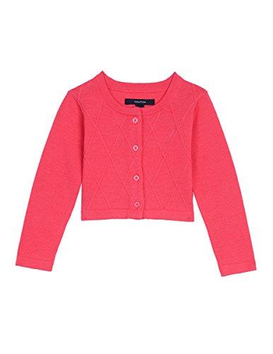 Nautica Baby Girls' Cropped Cardigan with Lattice Stitch, Bright Pink, 18 (Bright Stitch)