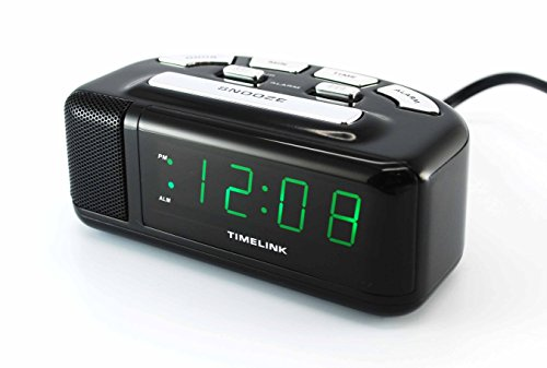 Timelink Super Digital Alarm Clock for Heavy Sleepers, Soft or Loud Option, Metal Speaker with Chrome Accents, Snooze, Green LED Display, Small
