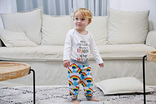 Newborn Infant Baby Boy Girls Rainbow Outfits Letter Print Onesies + Cloud Rainbow Pants + Hat Tie Dye Clothes Set